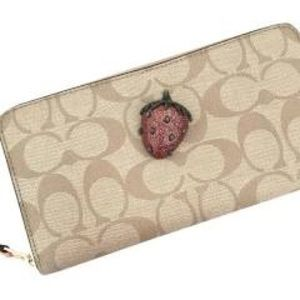 Coach Accordian Zip Wallet with Strawberry; NICE!!